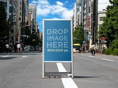 Billboard Mockup Standing in the Middle of a Street a10465