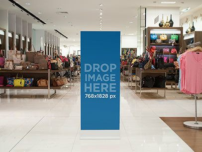 Vertical Banner Mockup at a Department Store a10516
