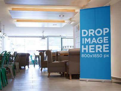 Vertical Banner Mockup Inside a Coffee Shop a10522