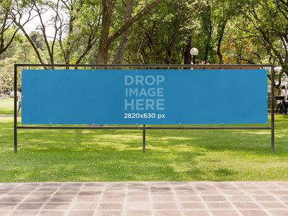 Horizontal Banner Mockup at a Park a10575
