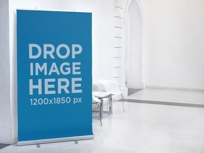 Vertical Banner Mockup at an Art Museum a10566