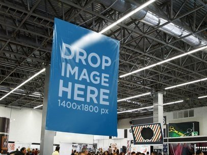 Vertical Banner Mockup at an Expo a10690