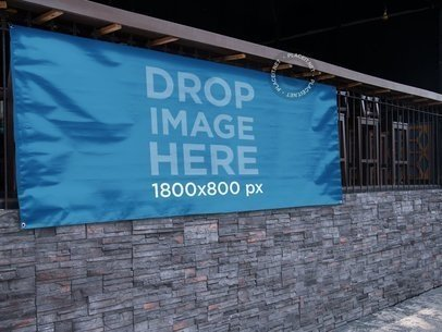 Horizontal Banner Mockup Hanging Outside at a Bar a10876