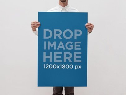 Mockup Template of a Guy in Formal Wear Holding a Poster a10425