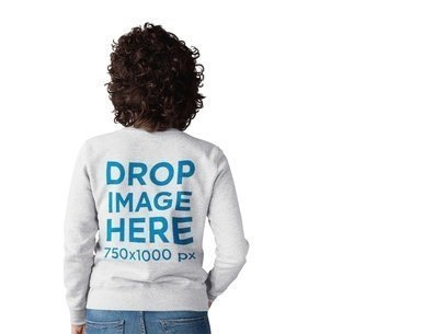 Curly Haired Girl Wearing a Crewneck Sweater Mockup Facing a Transparent Backdrop a10259b