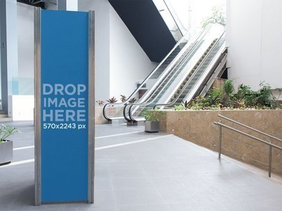 Vertical Banner Mockup at a Fancy Mall a10793
