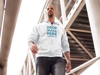 White Middle-Aged Man Wearing a Hoodie Mockup a9360