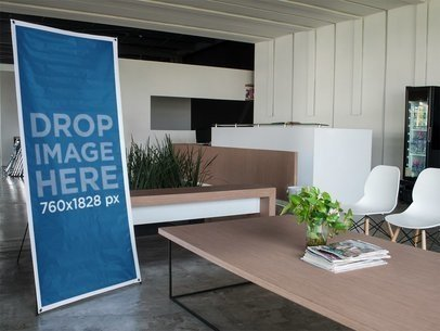 Vertical Banner Mockup in a Modern Lobby a10491
