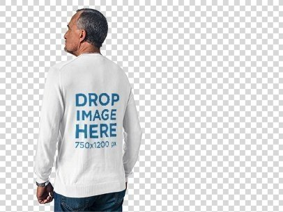 Back of a Man Wearing a Long Sleeve Tee Mockup Against a Transparent Backdrop a10988b