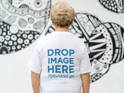Back of a Senior Lady Wearing a Tshirt Mockup in an Urban Space a10937b