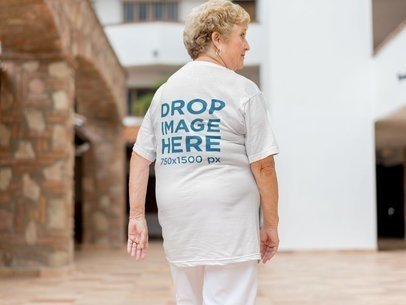 Elderly White Lady from the Back Wearing a Tshirt Mockup a10938b