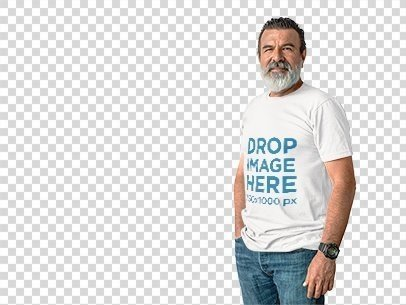 T-Shirt Mockup Featuring a Hispanic Elder Man Over a White Background a11307