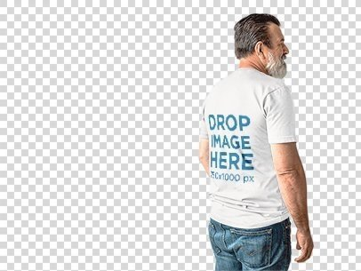 Middle-Aged Man Wearing a Short Sleeves Tee Mockup from the Back a11307b