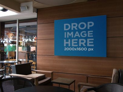 Horizontal Banner Mockup on a Coffee Shop Wall a11295