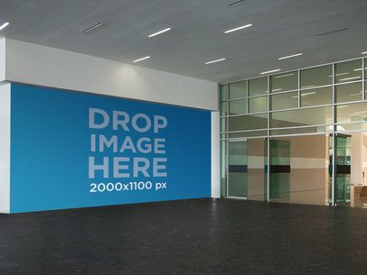 Horizontal Wall Banner Mockup at a Mall Entrance a11290