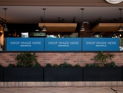 Three Horizontal Banners Mockup at a Restaurant a11319
