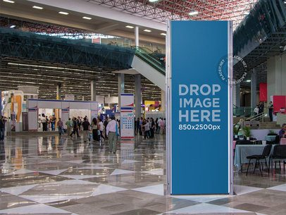 Mockup of a Vertical Banner Inside a Convention Center a10812