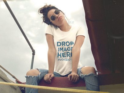 T-Shirt Mockup of a Trendy Woman Posing a11523