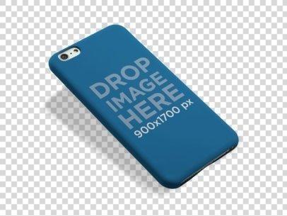 iPhone Case PNG Mockup Floating Over a Transparent Background a10234