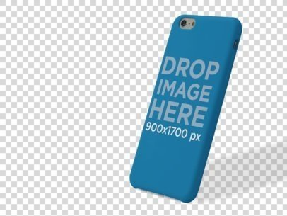 Phone Case Mockup of an iPhone 6 Leaning Over a Null Background a10231