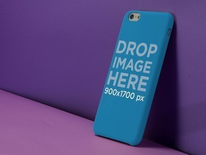 iPhone 6 Plus Case Mockup Against a Purple Background a11795