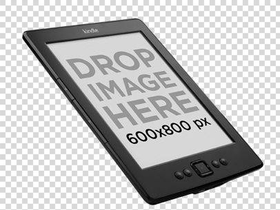 Amazon Kindle Mockup Floating Over a Transparent Background a11813