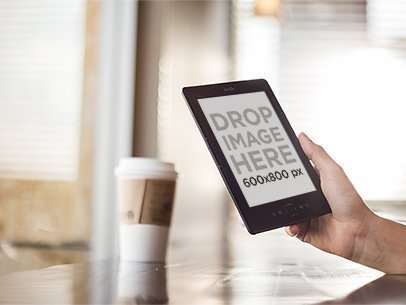 Amazon Kindle Mockup at a Coffee Shop a11834