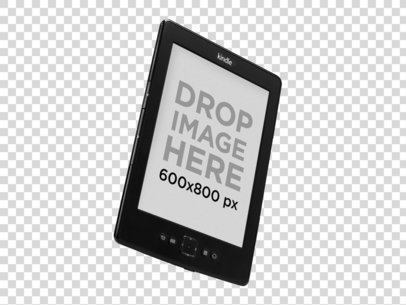 Angled Kindle Over a Null Background Mockup a11814 print