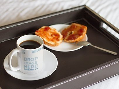 Coffee Cup Mockup With Breakfast in Bed a12276