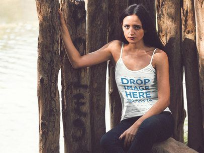 Tank Top Mockup of a Pretty Girl with Long Hair Near a Lake a12377