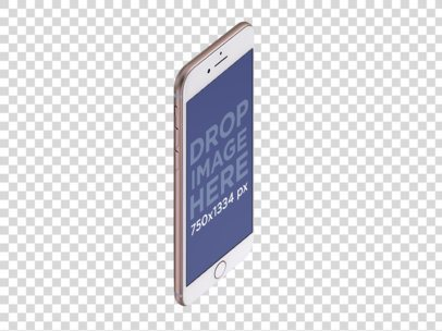 Angled Rose Gold iPhone 7 Floating Mockup a14086