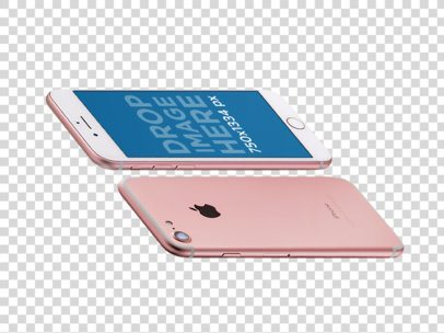 Transparent Mockup of Two Rose Gold iPhones Floating Angled Horizontally a14103