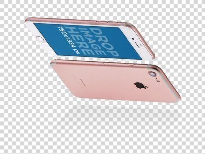 Pink iPhone 6 Floating Horizontally While In Portrait Position Looking Down Mockup a14144