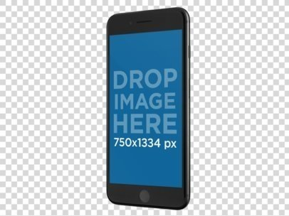 Black iPhone 7 Plus Floating Angled In A Portrait Position While Against A Transparent Background Template a13793