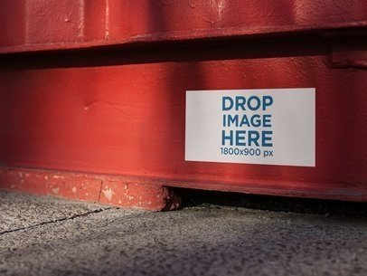 Sticker On a Red Container Mockup a14313