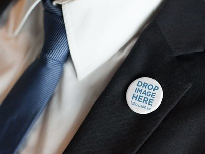Button on a White Man Black Suit a14327