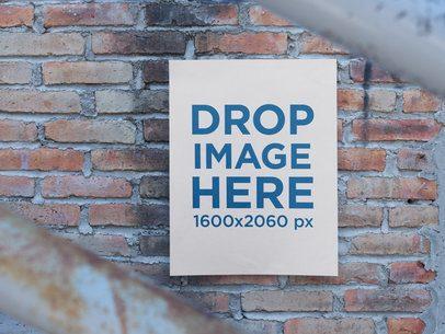 Poster on an Old Bricks Wall Mockup a14395