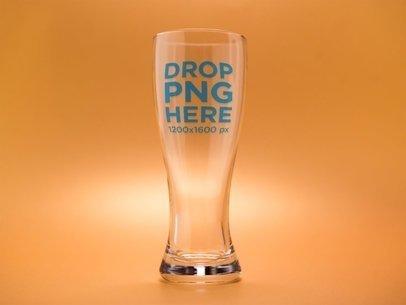 Mockup of an Empty Weizen Beer Glass Against an Orange Background a14659