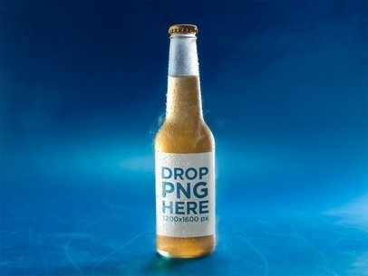 Very Cold Bottle of Lager Beer on a Blue Surface Mockup a14664