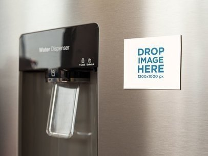 Fridge Magnet Mockup On a Metallic Fridge Near the Water Dispenser a14790