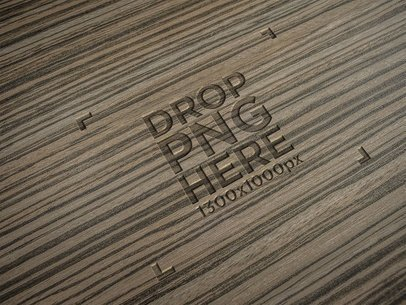 3D Burned Logo on a Dark Wooden Texture With Horizontal Grain a14811