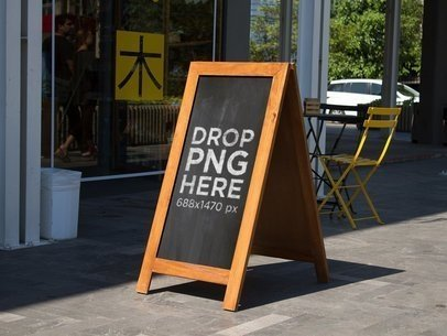Chalkboard Standing Sign Mockup Outside a Restaurant a14956