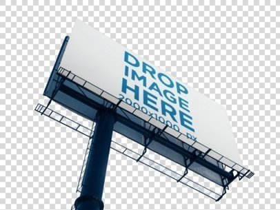 Mockup of a Billboard Sign from Below Against a Transparent Background a15051